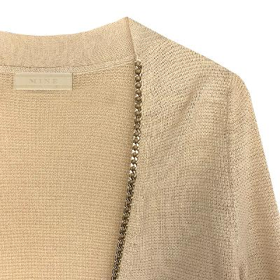 chain lined shawl cardigan beige